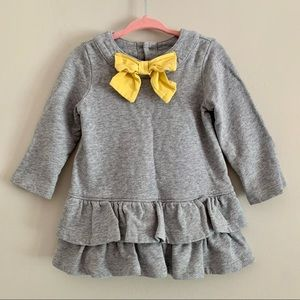 Hannah Anderson gray sweater dress yellow bow 2T